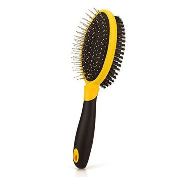 DELE 2-in-1 Combo Brush, Pin and Bristle Brush for Dogs and Cats with Short or Long Hair, Dog Grooming Brush for Shedding Dense Coat