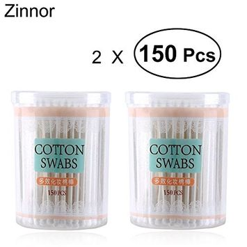 Zinnor 2 Box Disposable Cotton Swab Double Head Ended Clean Cotton Sticks Make Up Beauty Ear Clean Tools Wooden Sticks Wood Cotton Buds150Pcs/Pack Safe, Highly Absorbent & Hygienic