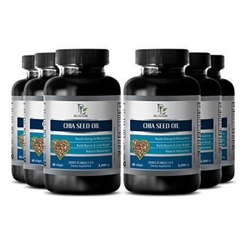 Memory herbal supplement - CHIA SEED OIL - Anti aging supplements - 6 Bottle 360 Softgels