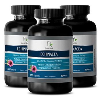 Digestive aids for adults - ECHINACEA - Echinacea pure - 3 Bottles 300 Capsules