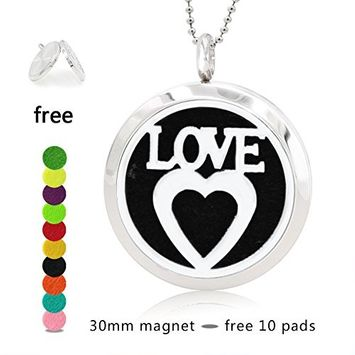 Silver Essential Oil Diffuser Necklace- YouMiYa Love Letter and Heart Shape Aromatherapy Essential Oil Diffuser Locket Magnetic Perfume 316L Stainless Steel Pendant Impressive and Beautiful For Gifts