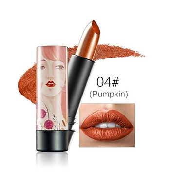 Creazy New Huamianli 12 Colors Women Shimmer Lipstick Waterproof Lip Gloss Cosmetics