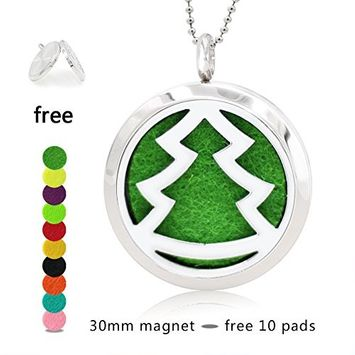 Silver Essential Oil Diffuser Necklace- YouMiYa Christmas Tree Shape Aromatherapy Essential Oil Diffuser Locket Magnetic Perfume 316L Stainless Steel Pendant Creative Gifts for Women,Lover,Men