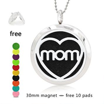 Silver Essential Oil Diffuser Necklace- YouMiYa Mom Letter Shape Aromatherapy Essential Oil Diffuser Locket Magnetic Perfume 316L Stainless Steel Pendant Perfect Gifts for Mother's Day