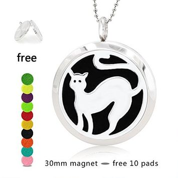 Silver Essential Oil Diffuser Necklace- YouMiYa cat Key Chains Perfume 316L Stainless Steel Pendant Funny Gifts for Women,Girls