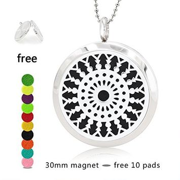 Silver Essential Oil Diffuser Necklace- YouMiYa Grain Shape Aromatherapy Essential Oil Diffuser Locket Magnetic Perfume 316L Stainless Steel Pendant Anniversary Gifts for Women