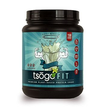 Tsogo Fit Protein Powder w/ 20 Grams of Plant Based Protein/Serving, Smooth Vanilla Flavor, Soy, Gluten and Dairy Free, High Fiber, Low Carb, 150 Calories/Serving (1 Tub, 20 Servings, 27.5oz 780g)