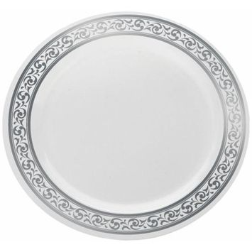 Decor Elegant Disposable Premium Heavy Weight Dinnerware, Classic Collections Silver & White (Soup Bowl)