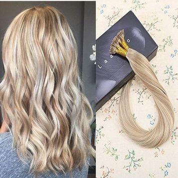 LaaVoo 14inches Ash Brown Mixed Blonde 18/613# Remy Stick Tip Hair Extensions Brazilian Human Hair I tip Extensions 50gram