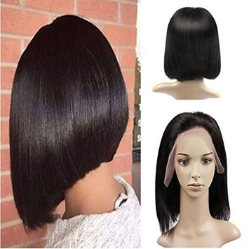 LaaVoo Lace Front Human Hair Bob Wigs Free Part 130% High Density Straight Glueless Pre Plucked Natural Hairline with Baby Hair for Black Women Natural Color 12 inch