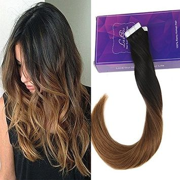 LaaVoo Skin Weft Seamless 16 inch Ombre Tape in Human Hair Extensions Natural Black #1b to Dark Brown #4 Straight Human Hair 50g/20pcs
