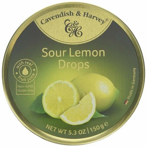Cavendish And Harvey Candy (3 Pack) Fruit Hard Candy Tin 5.3 Ounces Imported German Candy (Sour Lemon Drops)
