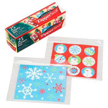 SANDWICH BAG CHRISTMAS PRINT 25CT 5.875X6.5IN 2ASST PER BOX, Case Pack of 48
