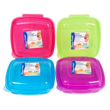 FOOD STORAGE CONTAINER W/HINGED LID 38 OZ 5 ASST COLORS IN PDQ, Case Pack of 48
