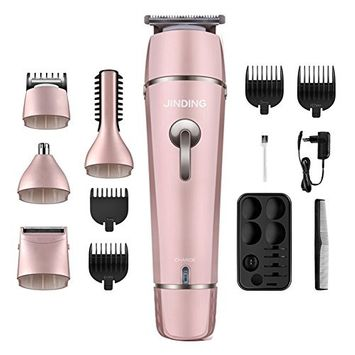Hair Clippers Electric Man's Grooming Kit,Cordless 5in1 Electric Waterproof Beard Trimmer Shaver Body Trimmer Nose Hair Trimmer Precision Rechargeable For Adults,Men,Kids and Babies (Rose G