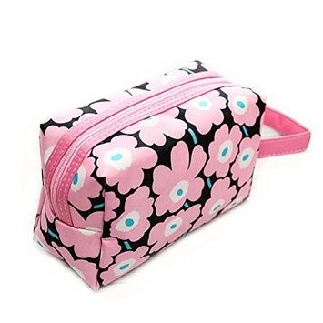 Drasawee Women's PU Travel Accessory Cosmetics Organizer Toiletry Makeup Bag Handbag Pink