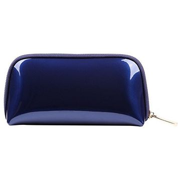 Drasawee Women Portable Cute Zipper Cosmetic Pouch Toiletry Handbag Makeup Bag Coin Purse Dark Blue