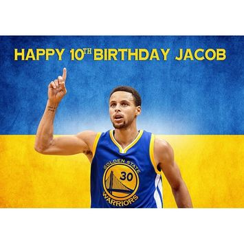 Stephen Curry Golden State Warriors NBA Birthday Cake Personalized Cake Toppers Edible Frosting Photo Icing Sugar Paper A4 Sheet 1/4