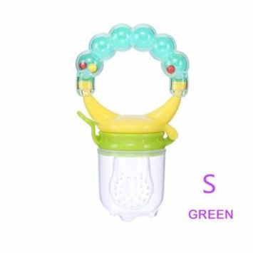1Pcs Baby Pacifiers Feeder Kids Fruit Feeder Nipples Feeding Safe Baby Supplies Nipple Teat Pacifier Bottles ( Green S)