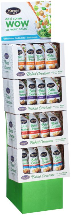 Marzetti® Cheese & Garlic/Garlic & Butter/Fat Free Garlic & Onion/Caesar Baked Croutons 4 Corrugated Display
