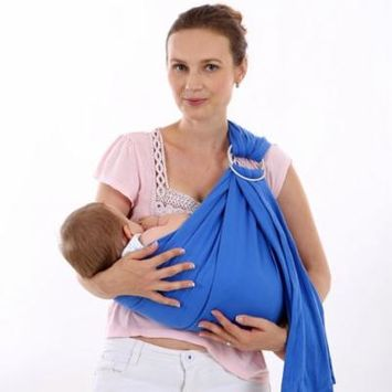 Baby Wrap Carrier - All-in-1 Stretchy Baby Wraps - Baby Sling - Infant Carrier - Babys Wrap - Hands Free Babies Carrier Wraps | Great Baby Shower Gift (Blue)