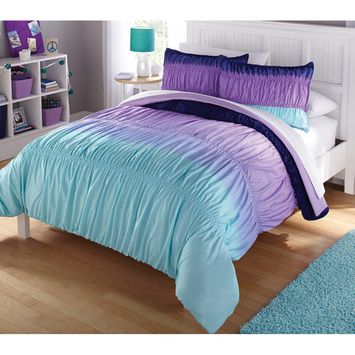 itude Purple Ombre Ruched Reversible Complete Bedding Set