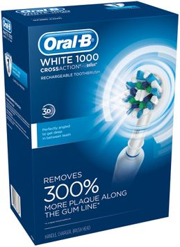 Professional Care Oral-B WHITE 1000 Power Rechargeable Electric Toothbrush Powered by Braun, White