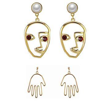 Sunvy Face Earring Set 2 Pair Gold Tone Hypoallergenic Earrings for Girls Teens Women Earrings Including Hollow Face Hand Shape Gold Statement Earrings