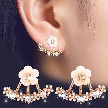 Sunvy Rose Gold Flower Crystal Ear Piercing Stud Earrings Women Rhinestone Earings Fashion Jewelry