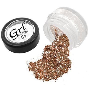Grl Cosmetics Cosmetic Glitter Makeup for Face, Eyes, Lips, Nails and Body - GL110 Rose Gold, 5 Gram Jar