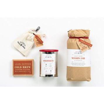 The 'Science of Cold Brew' Coffee Lover's Gift Box by Thoughtfully | Includes Giant Cold Brew Reusable Mason Jar, Filters, Pouring Spout, Coffee Scoop, and 100% Columbian Arabica Beans