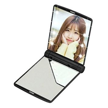 Alonea Makeup Cosmetic Folding Portable Compact Pocket Mirror With 8 LED Lights Lamps
