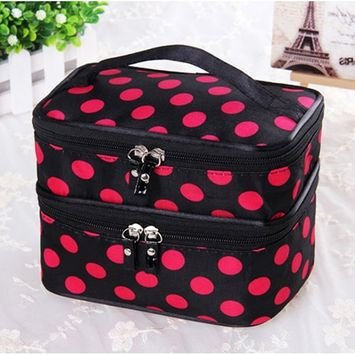 Pevor Double Layer Toiletry Bag Large Capacity Makeup Bag for Travel Cosmetics Storage Handbag Rose Pink Dotted Ladies' Cosmetics Collection Tools