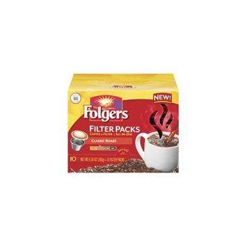 Folgers Classic Roast Medium Coffee Filter Packs, 10ct(Case of 2)