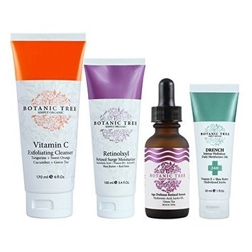 Anti Wrinkles Organic Treatment-From 56.70 for Just 29.9- Kit Botanic Tree for Face and Eyes - Retinol Cream+ Vitamin C Exfoliator+ Age Defense Serum+ Drench 24Hrs Hydration - 100% Organic Extracts.