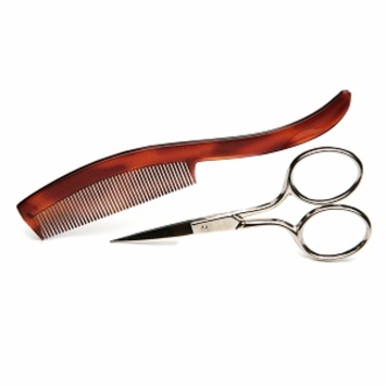 Denco Mustache Scissors & Comb, 1 Each
