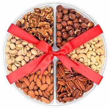 Christmas Nuts Gift Basket 1.56 Lbs - 6 sectional - with Raw Pecans, Walnut halves and pieces, Raw Cashews, Roasted Salted Pistachios, Raw Almonds, Raw Hazelnuts