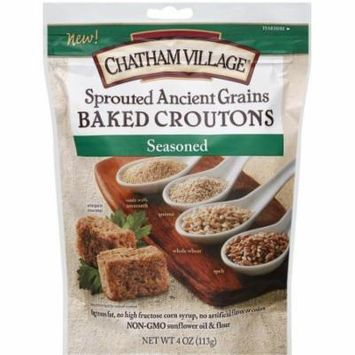 Chatham Village Seasoned Sprouted Ancient Grains Baked Croutons, 4 oz, (Pack of 8)