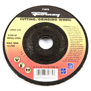 Forney 71875 Grinding Wheel with 5/8-Inch Arbor Metal Type 27 A30R-BF 4-Inch-by-1/8-Inch