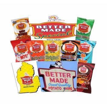 Better Made Special Variety Pack Potato Chips - Case of 50 - 1oz Bags – Original, BBQ, Sweet BBQ, Sweet Heat BBQ, Red HOT BBQ, Salt & Vinegar, Honey BBQ, Sour Cream & Onion