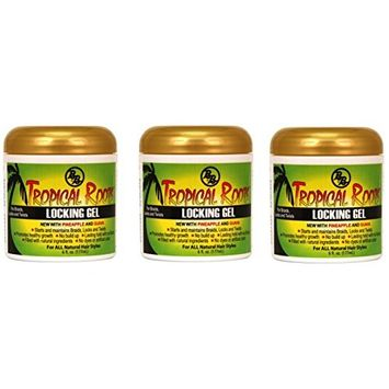 3 PACKS OF Bronner Brothers Tropical Roots Locking Gel, 6 Ounce
