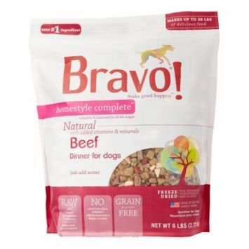 Bravo! Homestyle Complete Grain-Free Beef Dinner Freeze Dried Dog Food, 6 lb