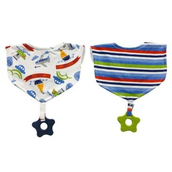 Neat Solutions 2pk Printed Interlock/Knit Terry Baby Bib with Teether Set- Blue