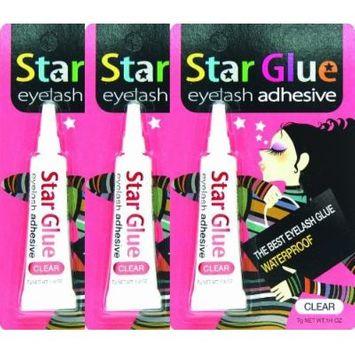 3packs of Star Eyelash Glue for Strip Lashes (Clear) 7g (1/4oz)
