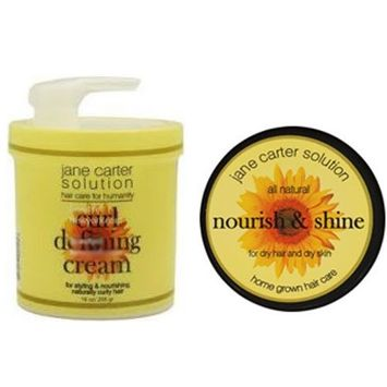 Jane Carter Nourish and Shine for Dry Hair and Dry Skin 4 oz & Jane Carter Solution Curl Defining Cream 16 oz Combo Set