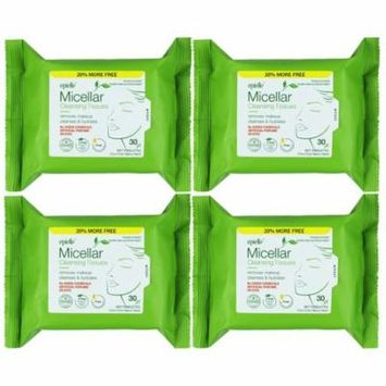 Epielle Micellar Cleansing Facial Makeup remover Tissues, 30ct (4 pack)