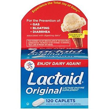 Lactaid Caplets, Lactase Enzyme Supplement, 120-Count (5 Pack)