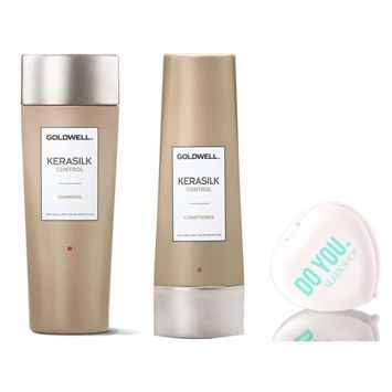 Goldwell Kerasilk Control Shampoo & Conditioner DUO Set (with Sleek Compact Mirror) (33.8 oz Liter Large Kit)