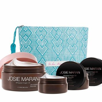 Josie Maran Body Butter Hydration Set with Bag Gift Set Butter Hydration Trio 8 oz Vanilla Apricot 2 oz travel sizes in Sweet Citrus and Lavender.