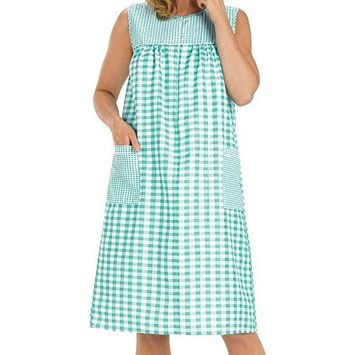 Women's Sleeveless Zipper Gingham Shift House Dress Duster By EZI